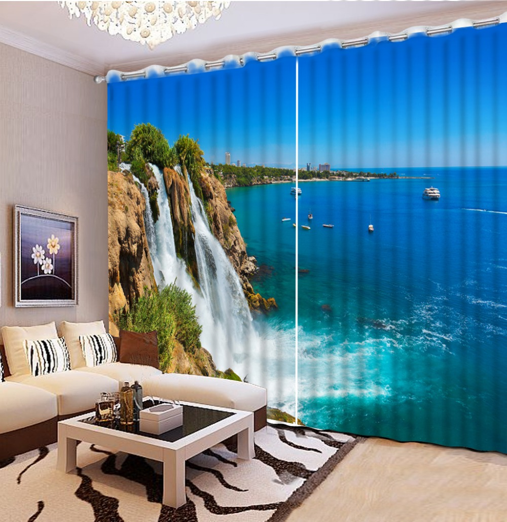 custom blackout curtains for living room Falls with sea views 3d curtains window curtains 3d stereoscopic home goods curtains