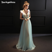 Sexy Emerald Green Long Evening Dresses A Line 3D Flowers Tulle Formal Evening Gowns Dresses 2017