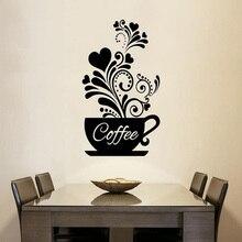 Etiqueta engomada creativa de la taza de café de pared de la vid de la flor para las calcomanías de la decoración del restaurante del café pegatinas talladas a mano de la cocina
