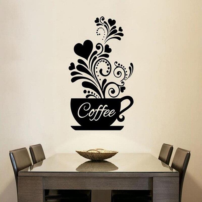 Criativo flor videira café copo adesivo de parede para café restaurante decoração decalques papel de parede mão esculpida cozinha adesivos