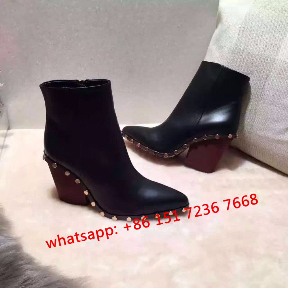 new fall Rodeo High Ankle Boot with Studs in Lambskin pointed toe shoes real leather wedge heel pumps designer women's boots