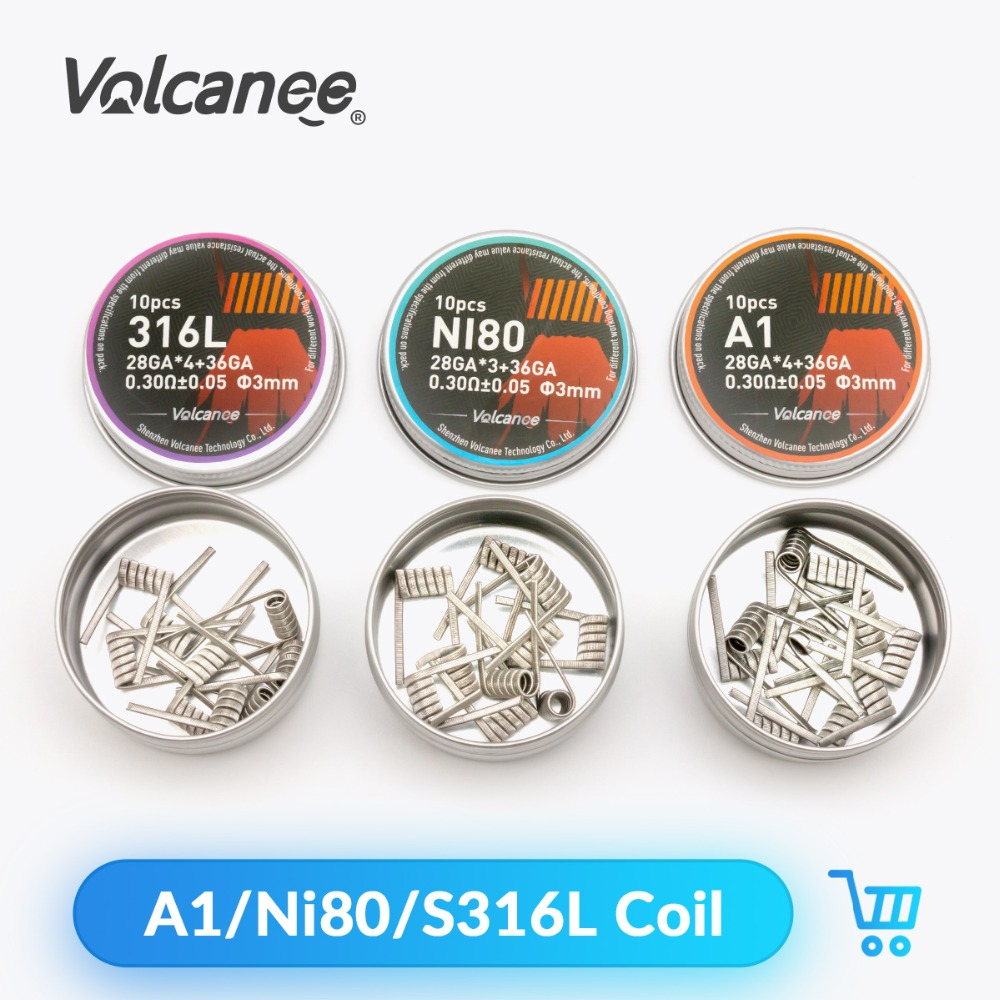 Volcanee 10pcs Ni80 Coil SS316L Clapton Coil Alien Heating Wire For Electronic Cigarette Liquid Cotton RDA RTA Tank Vape Coil