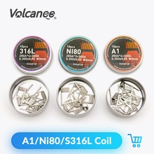 Volcanee 10pcs Ni80 Coil SS316L Alien Fused Clapton Heating Wire for Electronic Cigarette Liquid Cotton RDA RTA Tank Vape Coil
