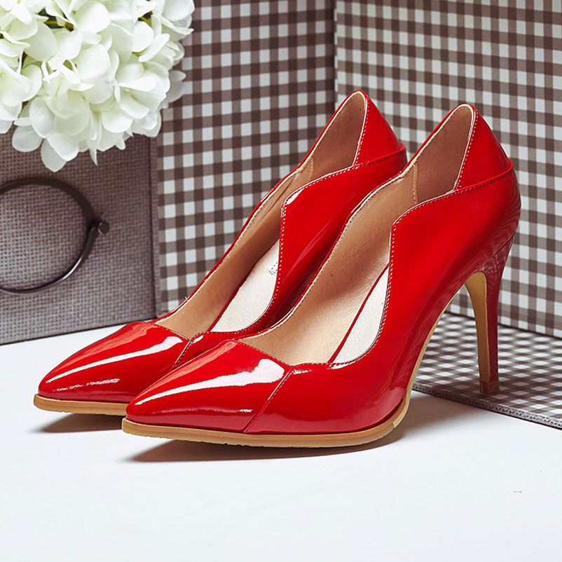 Sexy High Heels Genuine Leather Shoes Woman Fashion Ladies  Pumps brand Women Shoes 2016 Spring Autumn Party Pumps 2016 new fashion women pumps sexy high heels zip full genuine leather shoes woman platform ladies wedding shoes drop shipping