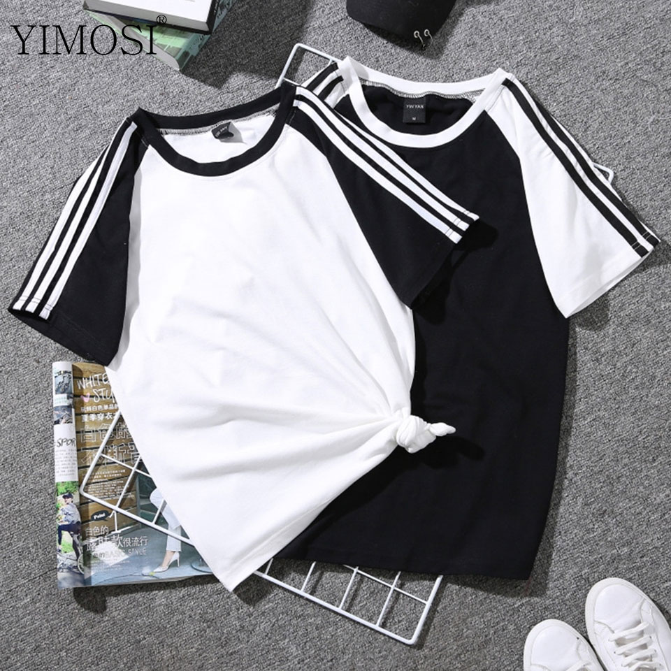 Striped Tops Tee-Shirts Short-Sleeve Graphic Casual-Print Harajuku Women Plus-Size Students