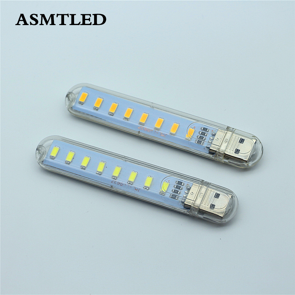 Mini 5V USB LED Book Night Light 8LEDs 4W Camping Lamp Reading Bulb For Laptop PC Computer Notebook Mobile Power Bank Charger