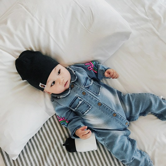 9ef4e564f1d9 Soft Denim Baby Romper Graffiti Cat Infant Clothes Newborn clothes ...