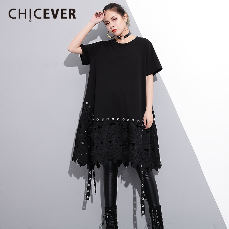 CHICEVER Patchwork Lace Women Dress Female Ribbon Short Sleeve Loose 2018 Spring Black Womens Dresses Of The Big Size Clothes