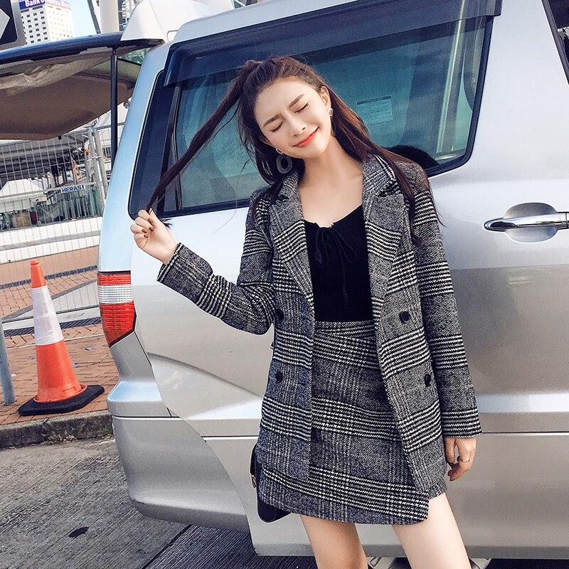 Femmes blazer haut un mot jupe hiver nouvelle grille en laine tissu manteau deux pièces costume coréen mode manteau jupes vêtements ensemble costume