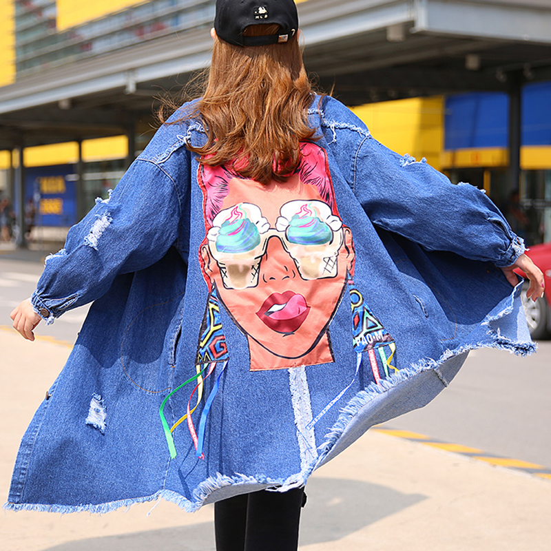 TWOTWINSTYLE Denim Hole Print Feminine Long Trench Coat Female Autumn 2017 Cardigan Lace Up Women's Windbreaker Ripper Clothes-in Trench from Women's Clothing