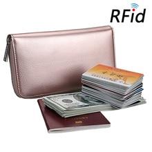 Купить с кэшбэком RFID Multi-functional Women Wallets Accordion Genuine Leather Card Holders Long Wallet Zipper Solid Travel Clutch Pack Female