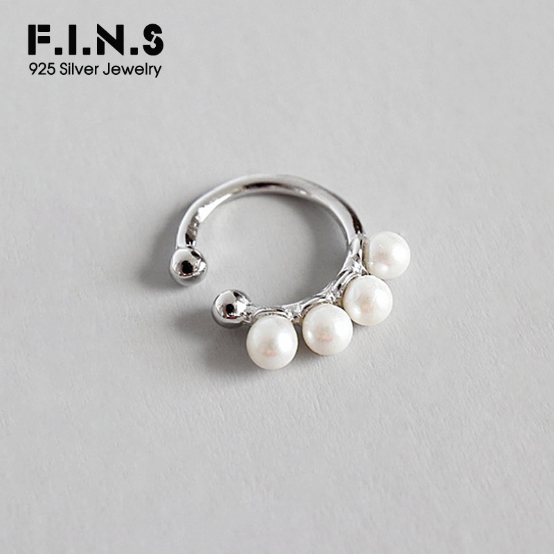 F.I.N.S S925 Sterling Silver Circle White Imitation Pearl Clip On Earrings Ear Cuff For Women Clip Earrings Without Piecing 1pc