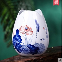 GUCI Jingdezhen pottery hand  painted blue and white porcelain rhyme small vase water flowers inserted creative crafts decorati
