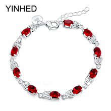 Stamp 925 High Quality Red Crystal Zircon Bracelets for Women 925 Sterling Silver Wedding Bracelet Fashion Jewelry Gift ZB011