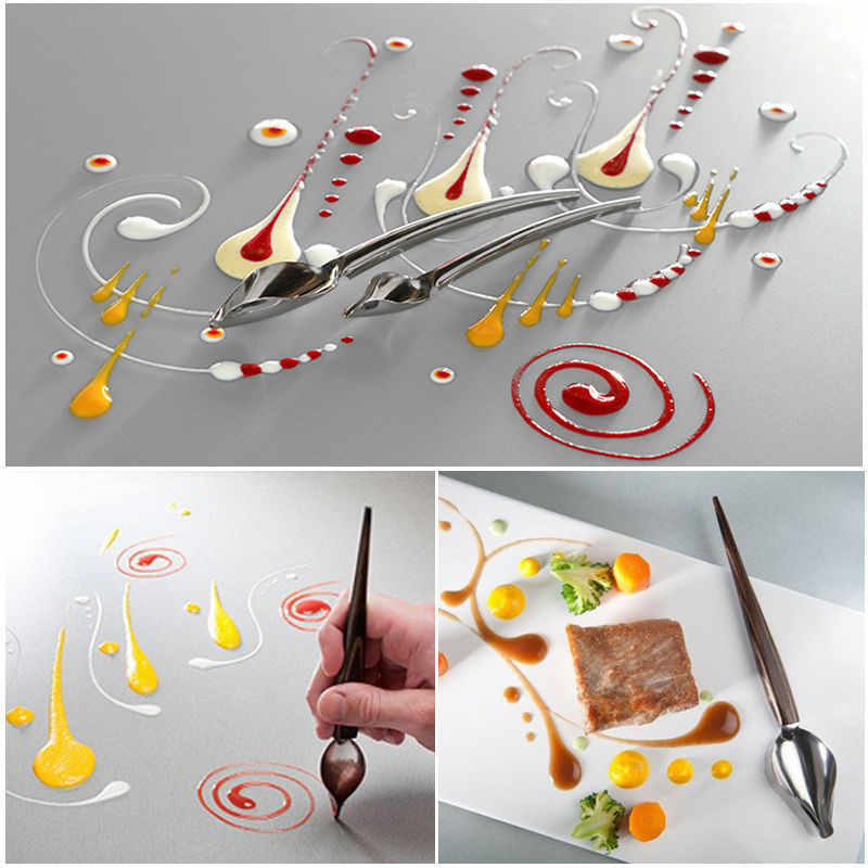 Creative Stainless Steel Chocolate Pencil Filter Spoon Decorate Design Sauce Dressing Plate Dessert Bakeware Cake Pastry Tools