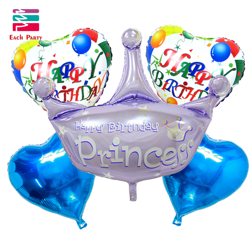 5pcs/lot Birthday Crown foil balloons helium balloon globos inflatable happy bir