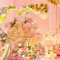 Wedding road, flower, thorn ball, chrysanthemum, simulation, foreign peony, T stage, iron flower stand, wedding stage layout
