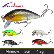 CRANK BAITS black minnow fishing bait hard lures 3.7g/5cm isca artificial jig metal sea ship for 2* strong hooks