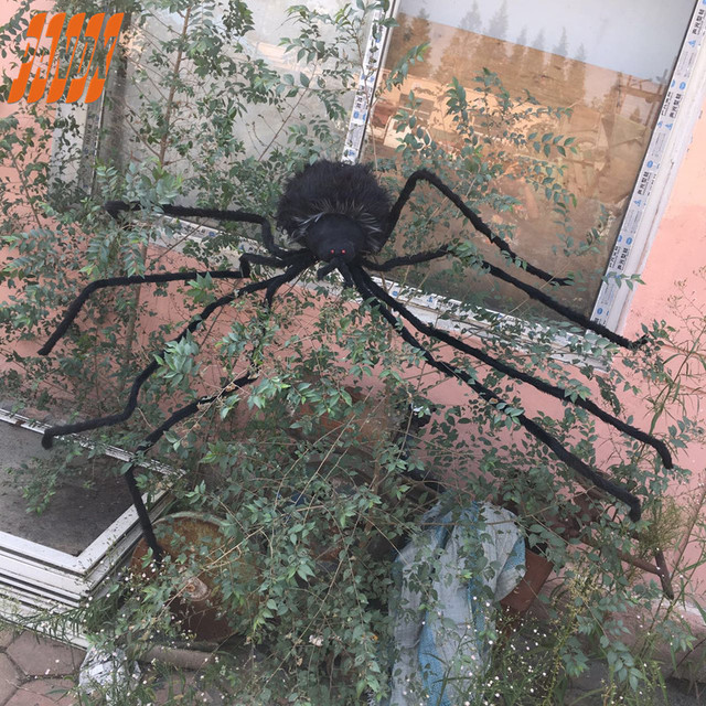 image of halloween spider decorations large 2 metre black spider