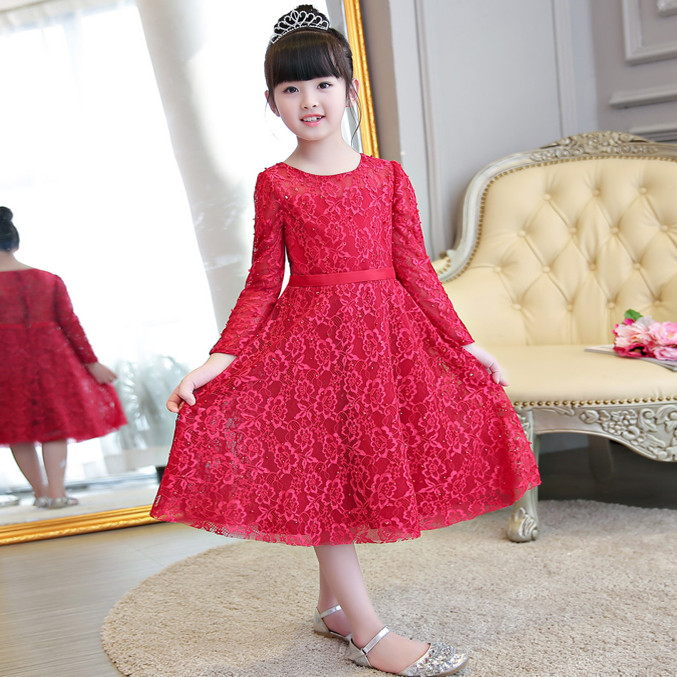 2017 New Arrival Autumn Girls Long Sleeves Princess Party Lace Dress Children Kids Pageant Formal Party Wedding Birthday Dress girls lace mesh half sleeves dress for princess pageant wedding bridesmaid birthday formal party
