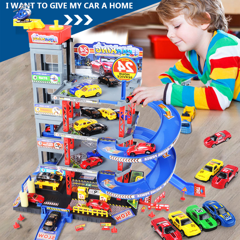 New Children's City Rotate Parking Lot Toys Multi-storey Track with Car Model and Plane Model