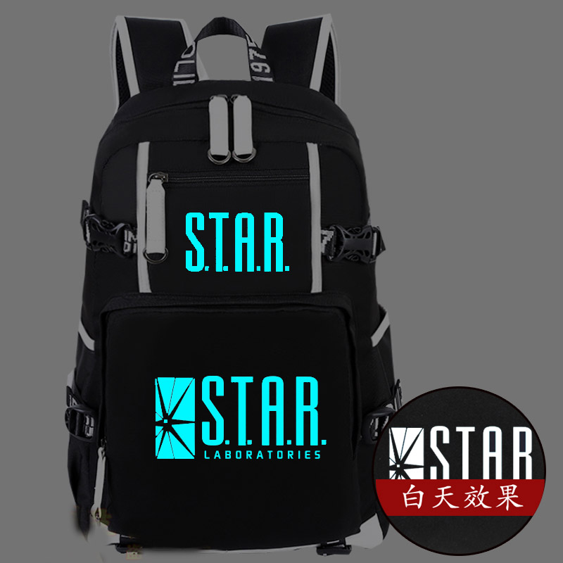 Hot The Flash Backpack Canvas Bag S.T.A.R. Labs Luminous Schoolbag Travel Bags hot martin garrix backpack canvas bag luminous schoolbag travel bags