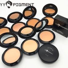 Marca yy pigmento profissional pó óleo-controle rosto contorno capa mineral fundação nude pó compacto maquiagem