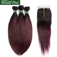 Red Wine T1b / 99J Ombre Human Hair Bundles Med Closure Beauty plus Brazilian straight 3 Bundles With Closure 4 stk / Lot Non Remy