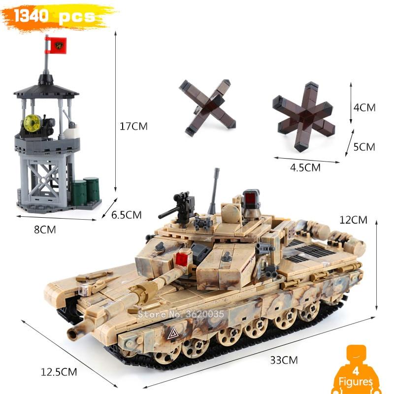 1340 pcs 99 réservoir tour de Guet Barrage Routier Scènes avec legoinglys ville militaire ww2 Building Blocks Figures mini Arme jouet cadeau