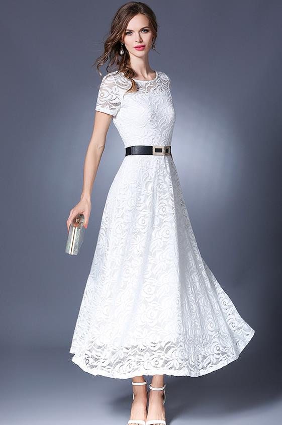 Free Shipping European Design Pure Color Round Collar Plus Size S XXL Lace Long Dress Black And White