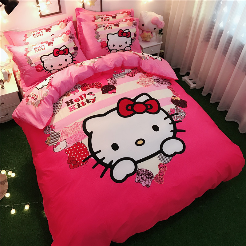 Bedding Set 100% Cotton Lovely Cartoon Pink Series Love Hello Kitty Doraemon 4pcs/3pcs Duvet Cover Sets Bed Sheet Set Pillowcase
