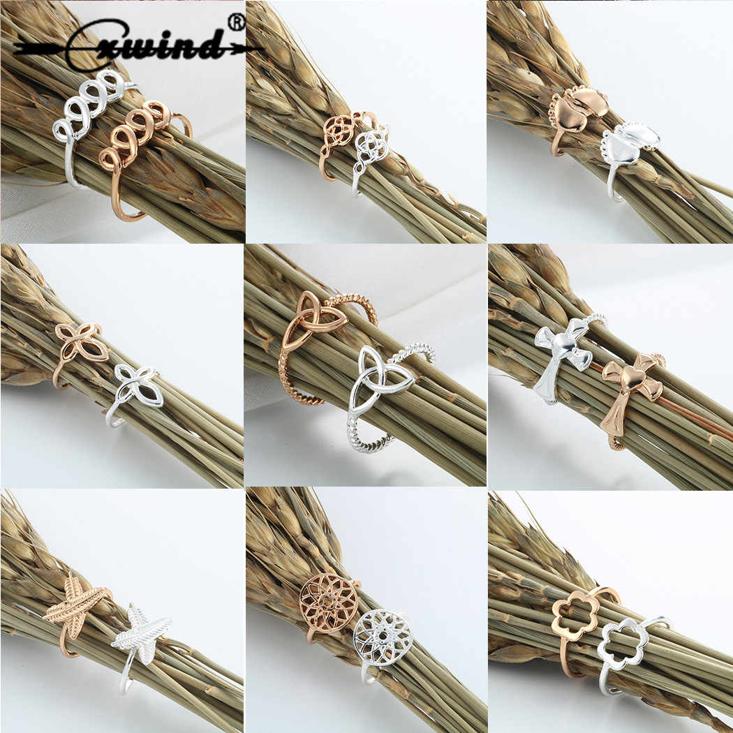 Cxwind Fashion Heart Flower Cross Feather Ring Finger Rings For Women Statement Adjustable Ring Wholesale