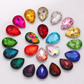 13x18mm 20pcs Teardrop Droplet Pointback Rhinestones Glass Crystals Pear Shape Fancy Stones Rhinestone For Jewelry Making H0091