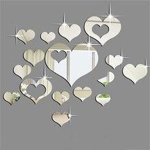 Мода 16 шт зеркало сердце форма украшения дома DIY пластиковые 3D наклейки на стену