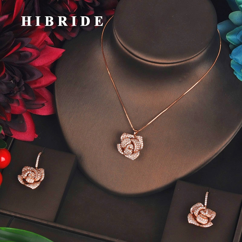 HIBRIDE Rose Gold Color Flower Pendientes Bridal Women Jewelry Sets Girls Earring Necklace Accessories Mujer Moda N-621