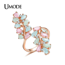 UMODE Brand Anel Candy Colorful Rose Gold Color Cocktai Ring For Women Fashion Jewelry CZ Anillos