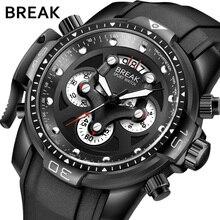 ROMPER Diseñador Hombres Moda Deporte Militar de Cuarzo Cronógrafo de Goma Impermeable de Primeras Marcas de Lujo Relojes de Pulsera Hombre Relojes