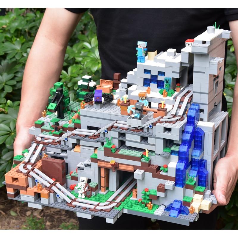 2659PCS My world Minecraft The Mountain Cave Mini Action Figures Building Block Bricks Zombie Toys For Children 21137 Christmas mini world mn202