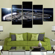 Canvas Poster Wall Art Framework Home Decor 5 Pieces Millennium Falcon Star Wars Pictures HD Prints Movie Paintings Living Room