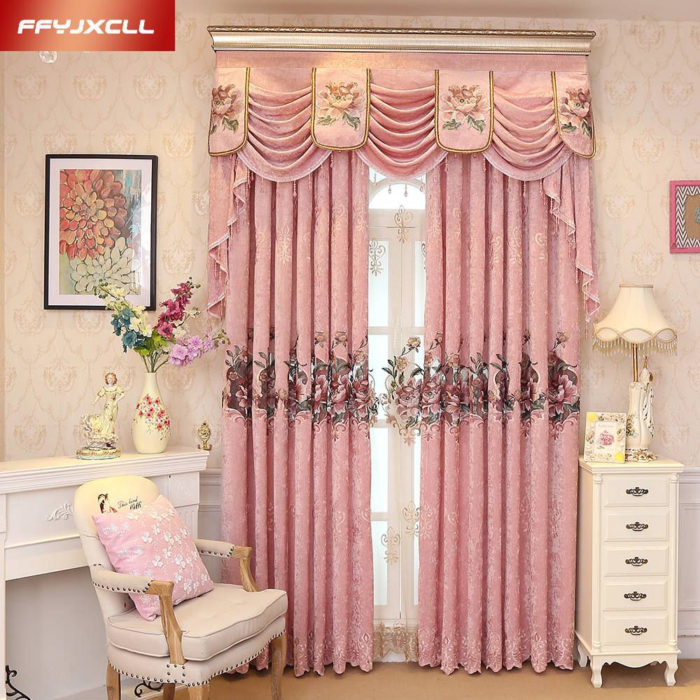 Valance Window Curtain For Bedroom: Custom Made Luxury Embroidered Valance Decoration Pink