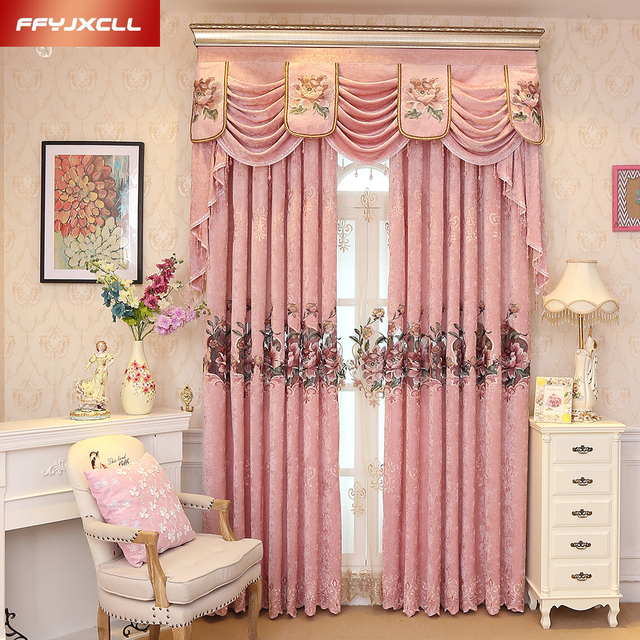 Custom Made Luxury Embroidered Valance Decoration Pink Cloth Curtain ...