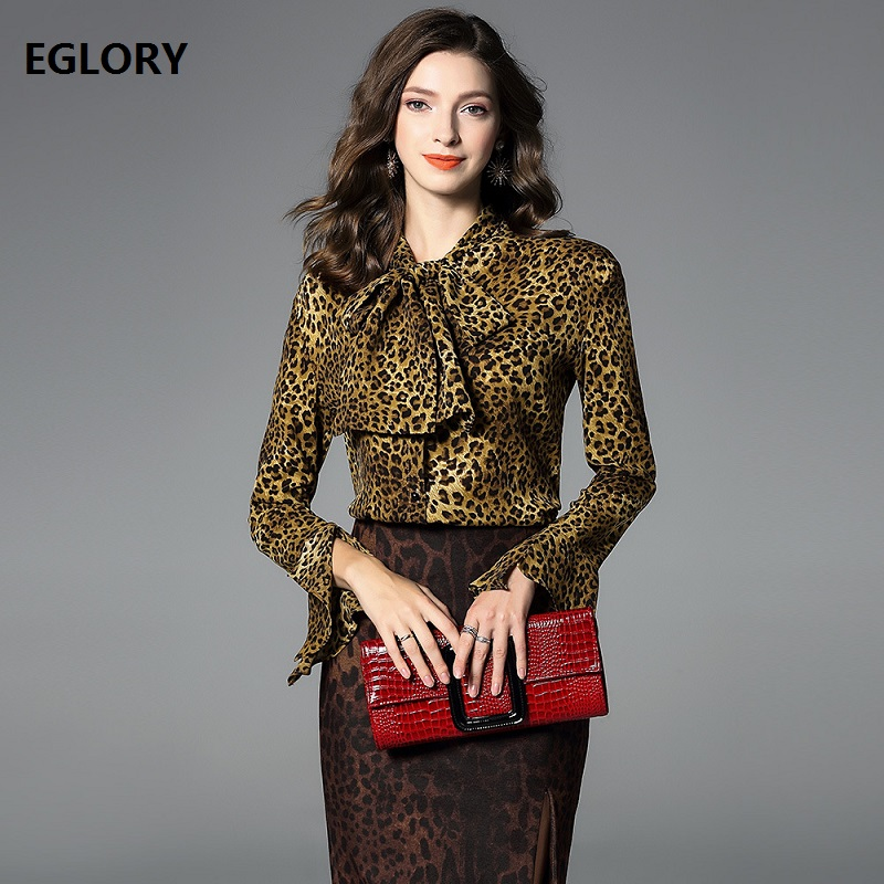 6852a33f7fd17 High Quality Blouse Shirt 2019 Spring Summer Blouses for Women Bow Collar  Sexy Wild Leopard Print Flare Sleeve Elegant Blouse