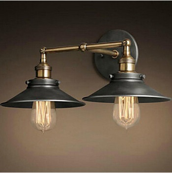 Max 80W Retro Vintage Loft Industrial Wall Lamp With 2 Lights,Bulb Included Edison Wall Sconce American Concise Country Style