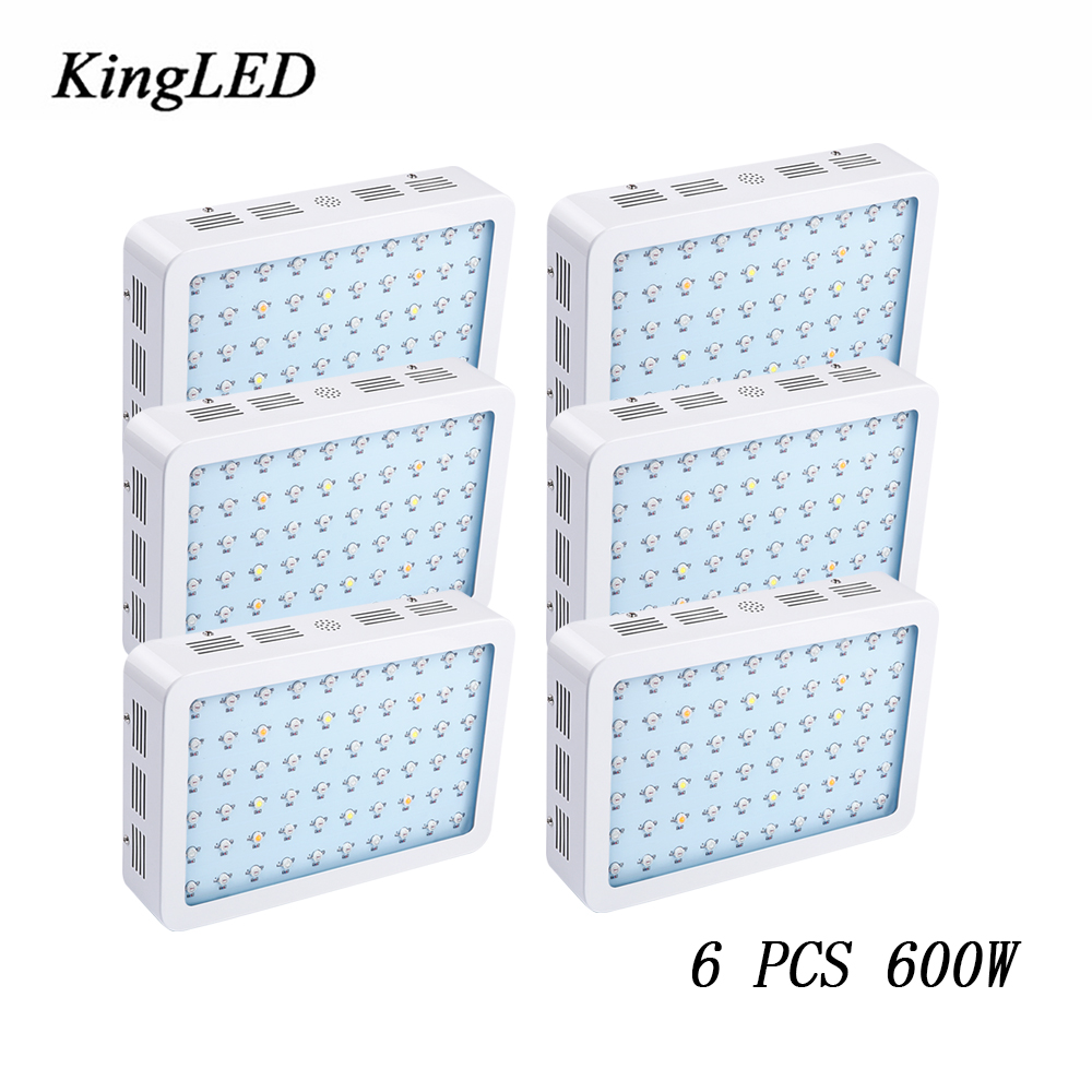 6 pcs 600W LED Grow Light KingLED Double Chips Full Spectrum For Indoor Plants and Flower Phrase Very High Yield LED Grow Light on sale black kingled double chips full spectrum led grow light 600w 800w 1000w 1500w for aquario hydroponic lamp high yield