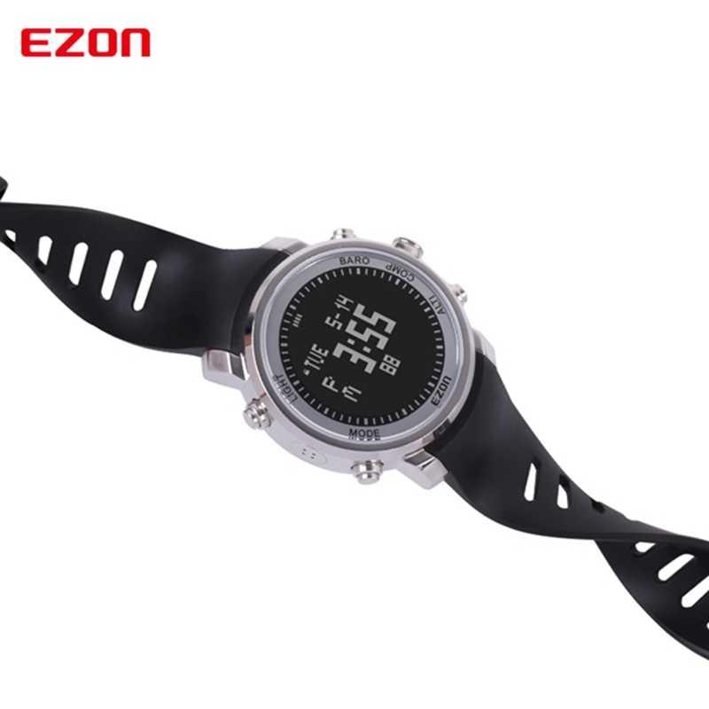 Men's Digital Sport นาฬิกานาฬิกาผู้หญิงความสูงบารอมิเตอร์เข็มทิศและสแตนเลสสำหรับเดินป่ากลางแจ้ง EZON H506B01