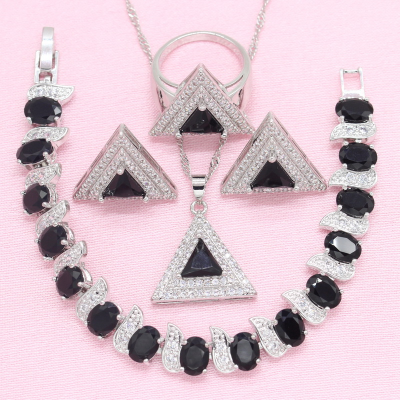 Jewelry-Sets Bracelet Necklace Stud-Earrings Pendant Silver White Black 4PCS Women Ring-Gift-Box
