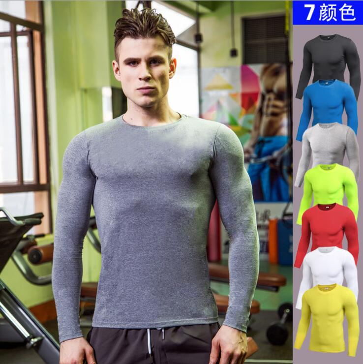 Solid - Color Men PRO Fitness Sports Running Tight T-shirt Elastic Sweat - Drying Long Sleeve Shirts