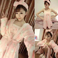 2016 Autumn Winter Flannel Robes Cartoon Rabbit Costume Thick Warm Sleepwear Dress+Robe+Hair Band Pajamas Set 88 JL