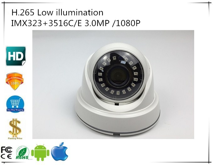 IP Dome Camera Low illumination IMX323 3516C 3 0MP 2048 1536 1080P H 265 ABS Plastic