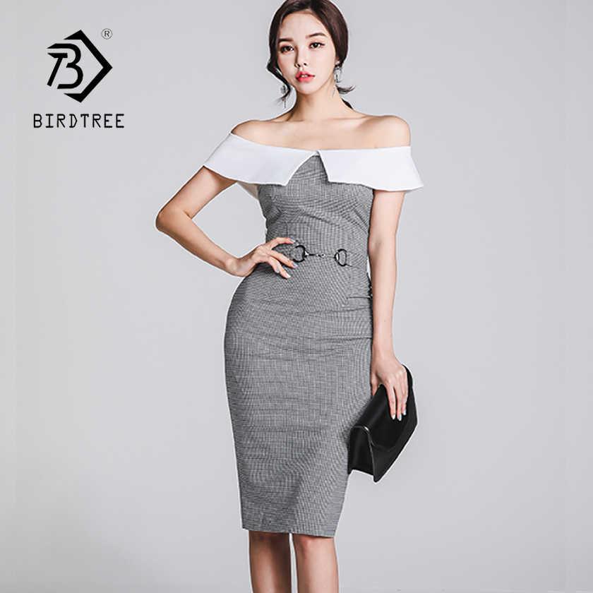176fe7f018c New Women Black White Plaid Off Shoulder Patchwork High Waist Bodycon Sexy  Slash Neck Blazer Dress